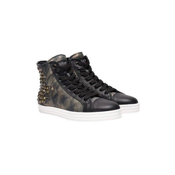 Hogan Rebel Leather Sneakers ($391) ❤ liked on Polyvore featuring shoes, sneakers, black, black leather trainers, real leather shoes, black shoes, rubber sole shoes and genuine leather shoes