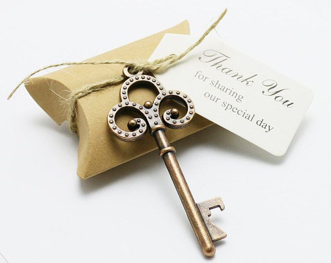 Meressie 50 Wedding Favors Skeleton Key Shaped Bottle