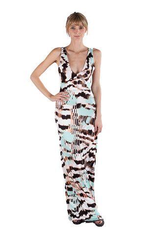 00fa4af0dcd Fraiche by J - Feather Print Back Band Maxi Dress