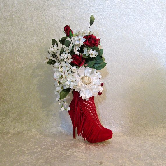 Stairway Decorated With White Tulle And Red Silk Roses: Red, White And Gold Silk Flower Arrangement In A Red