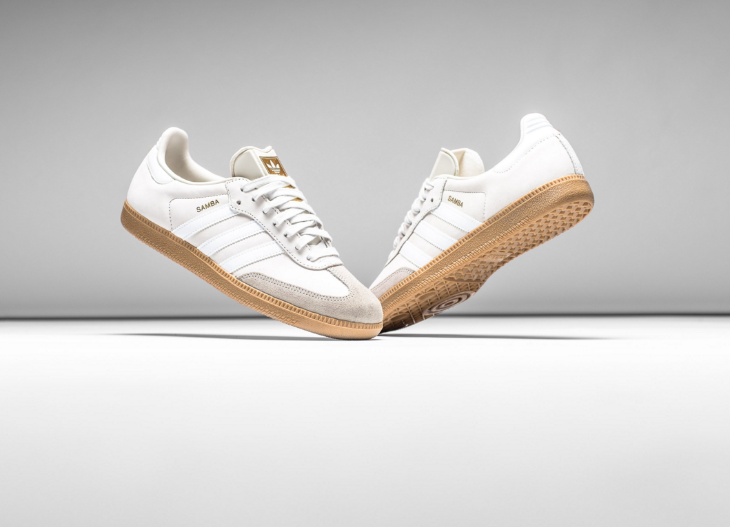 separation shoes temperament shoes details for ADIDAS ORIGINALS SAMBA OG - WHITE/GUM/GOLD METALLIC | White tennis ...