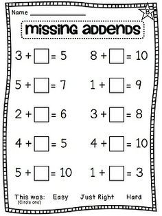 Missing Addend Worksheet - Khayav
