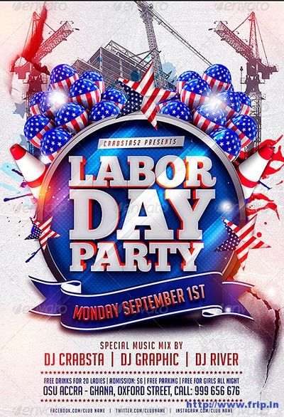Best  Labor Day Bash  Party  Flyer Print