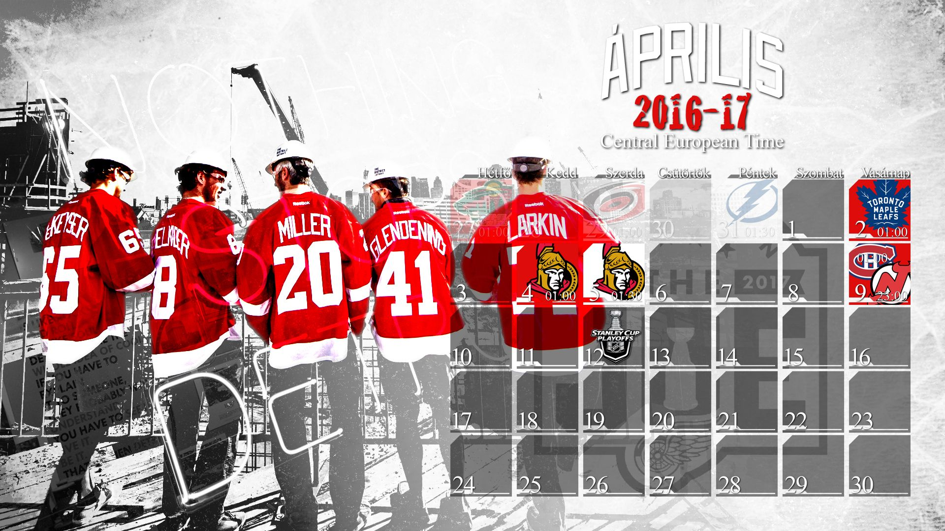 schedule wallpaper for the detroit red wings regular season 2016