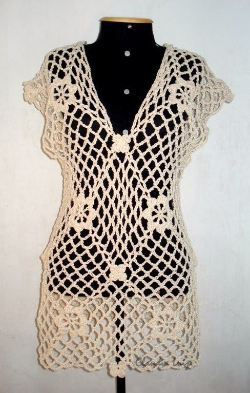 600e1c6a404e Claudia Luiz Artesã: SAÍDA DE PRAIA - tricô e croche   Crochet Tops ...