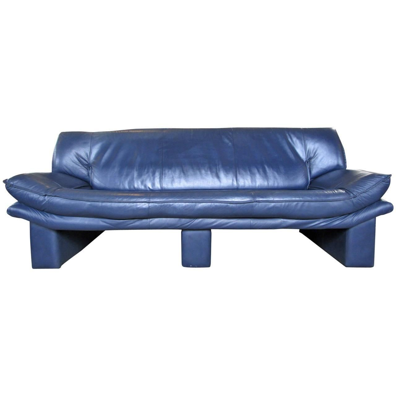Image Of Navy Blue Leather Sofa By Nicoletti Salotti