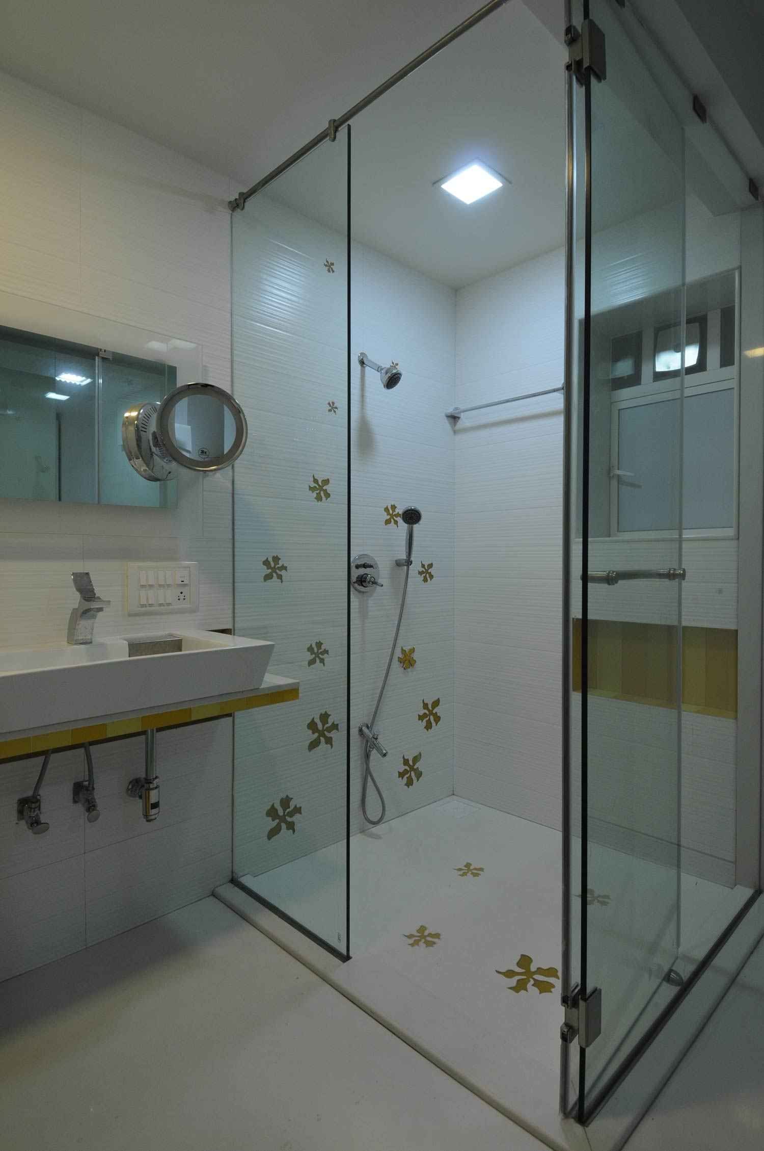 Bathroom with Shower Enclosure design by Sonali Shah, Architect in Mumbai, India