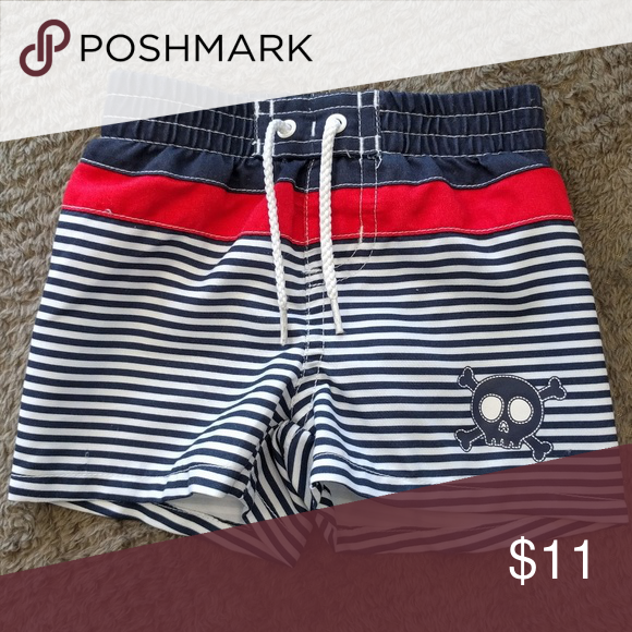619c9129c Koala Kids | skull swim trunks | 3 months Navy blue and white horizontal  strips swim