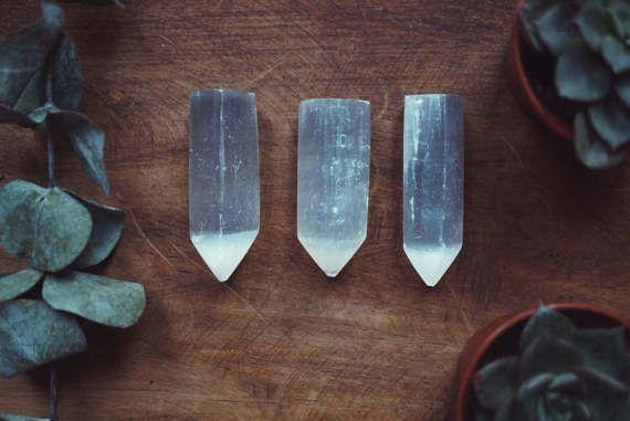 Selenite Wand Necklace Moon Crystal Boho by KRUELINTENTIONS #HealingCrystals #Moon #MoonCrystal