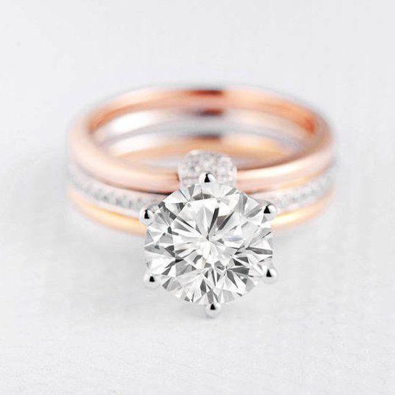 d12d06b3345e7 Moissanite Engagement Ring Wedding Ring Set Bridal Set Cage Rose ...