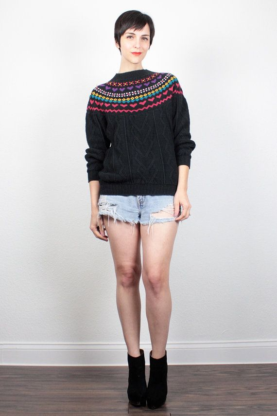 Vintage 80s New Wave Jumper Nordic Sweater Fair Isle Sweater Black ...