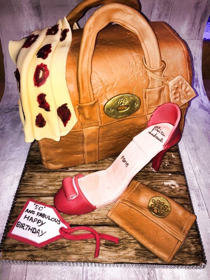 Christian laboutin style handbag an sugar shoe cake