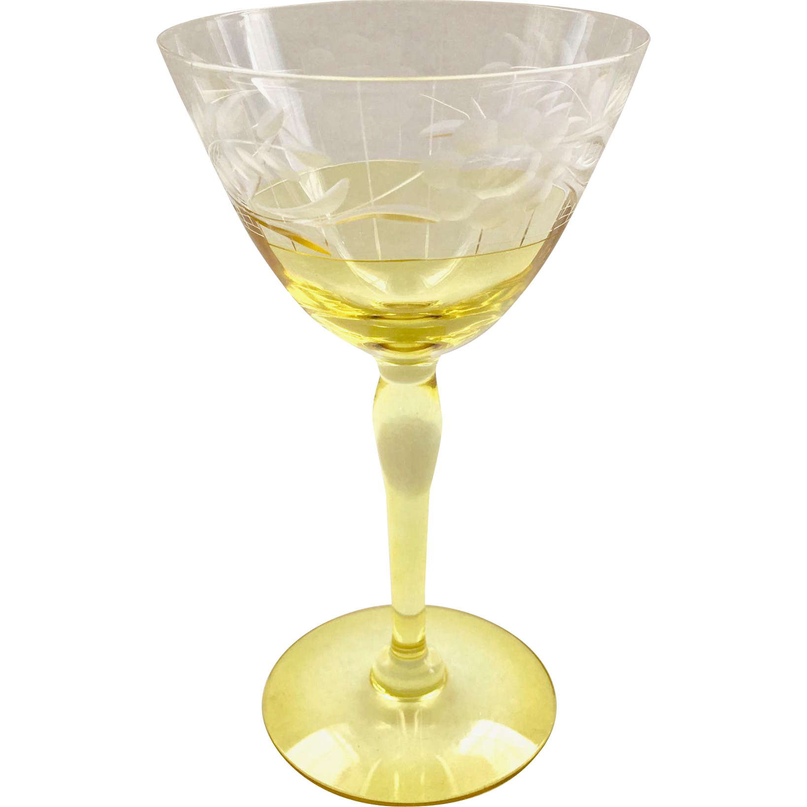 Westmoreland Design 229 Marigold Yellow and Crystal Cut Wine Goblet ...