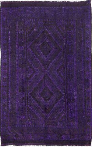 Vintage purple overdyed kilim