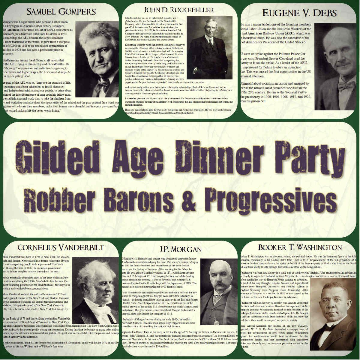Gilded Age Robber Barons Amp Progressives Dinner Party