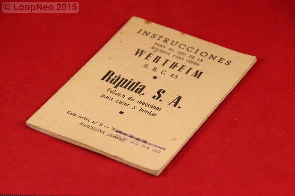 Manual Instrucciones Maquinas de Coser wertheim - RAPIDA S