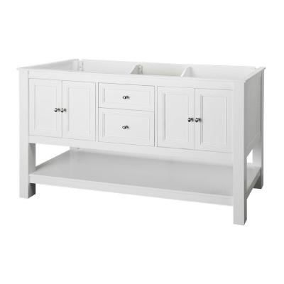 Home Decorators Collection Gazette 60 In W Bath Vanity Cabinet Only In White With Double Bowl Design Gawa6022d The Home Depot Vanity Cabinet Marble Vanity Tops White Vanity Bathroom