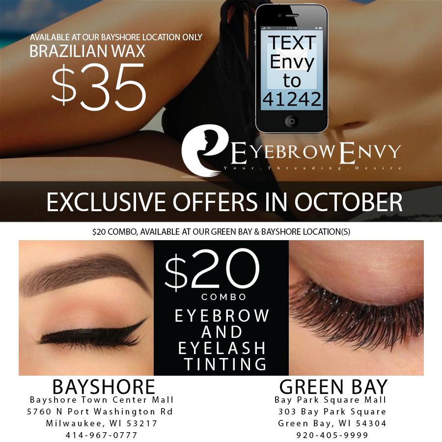 Eyebrow & Eyelash Tint ONLY $20 @Green Bay & Bayshore! Brazilian ...