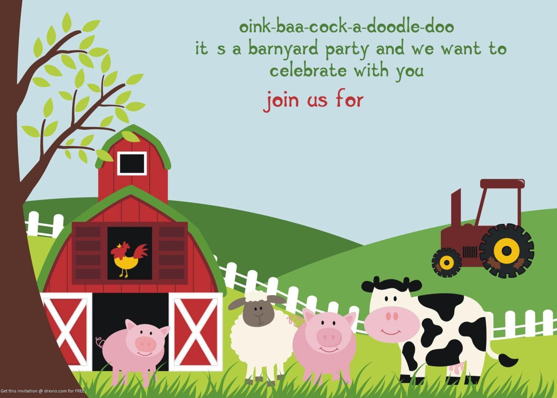 Nice FREE Printable Farm Animals Birthday Invitation Template – Template for Birthday Invitation