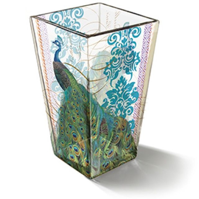 Peacock trash can fringe studio shannon peacock vase for Decorative items from waste