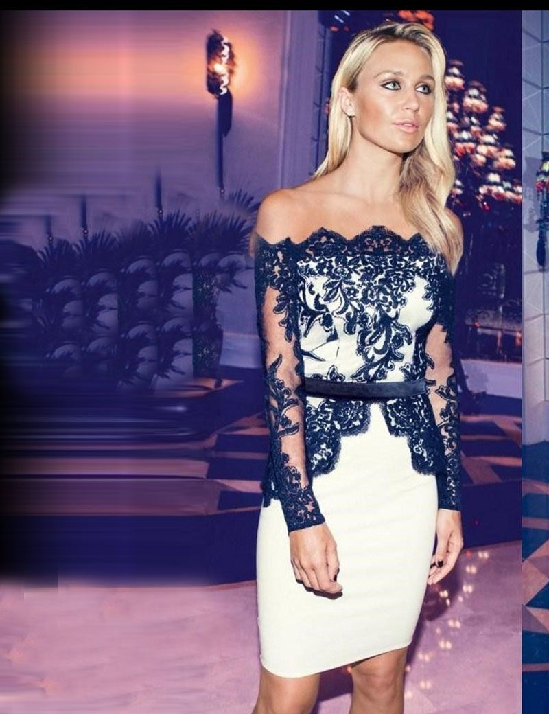 Sexy Off-shoulder White Black Lace Applique Short Cocktail Dress ...