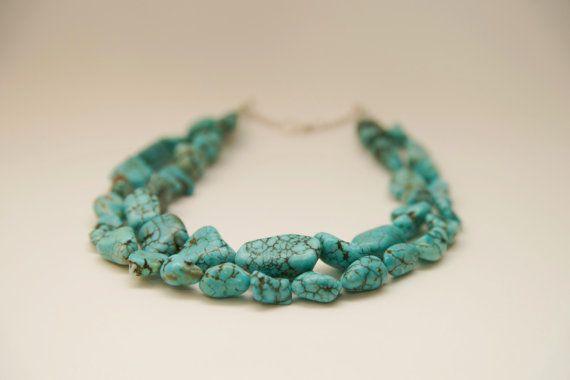 BlueGreen Turquoise Nugget Necklace Boho Hippie by BijouxDeLaLune4, $45.00