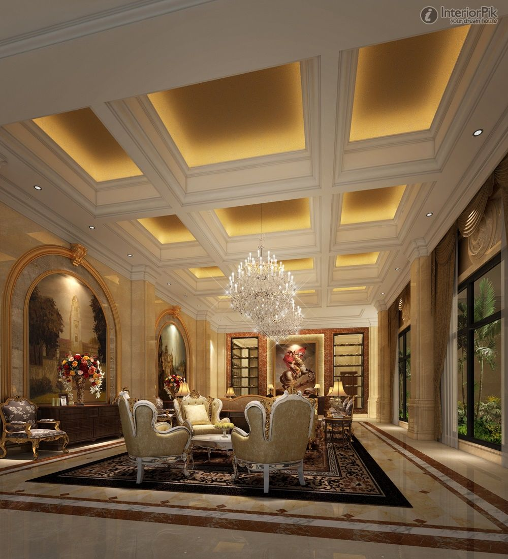 Luxury Villa Living Room Ceiling With Lighting Ideas For