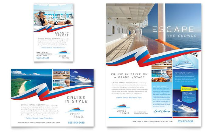 Cruise Travel Flyer And Advert Template Design By Stocklayouts