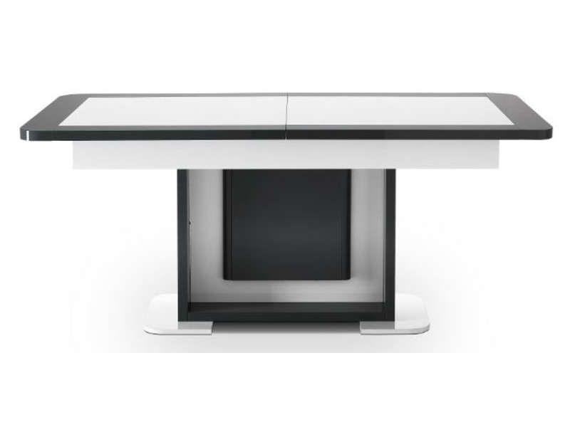 Table avec allonge L.max 220 cm Lorenzo coloris blanc/ gris ...