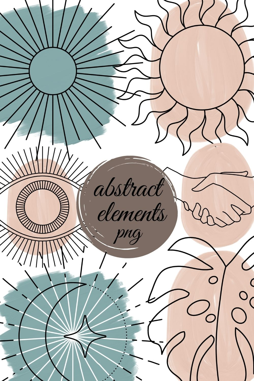 Abstract Boho Elements Png Flower Png Design Elements Etsy Bohemian Wall Art Boho Elements Design Elements