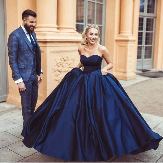 Simple Navy Blue Ball Gown Prom Dresses Evening For Women