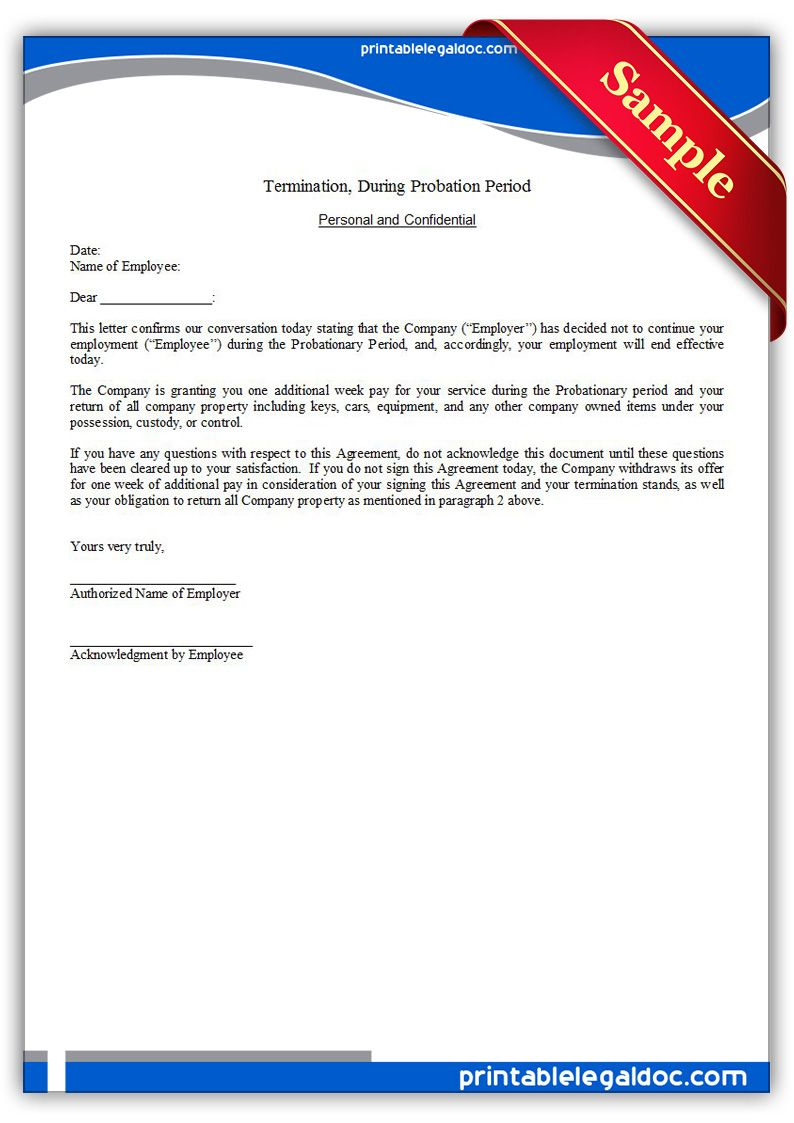 printable termination during probation period template printable printable termination during probation period template