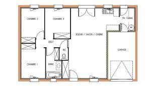 plan de maison plain pied 3 chambres sans garage