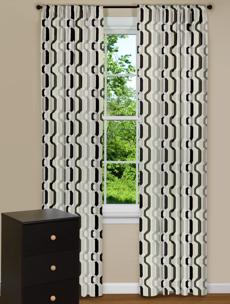 Modern Curtain Panels With Twisted Desgin In Black And Grey With