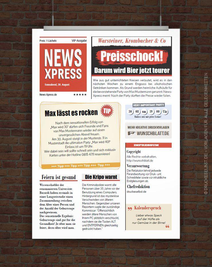 Kostenlose Einladung im Zeitungsstil FREE PRINTABLES