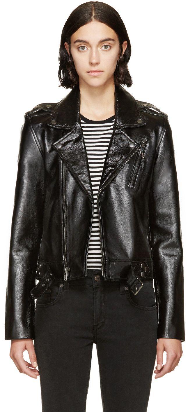 Blk Dnm Black Patent Cropped 1 Biker Jacket Leather Jackets Women Designer Leather Jackets Leather Jacket [ 1412 x 646 Pixel ]
