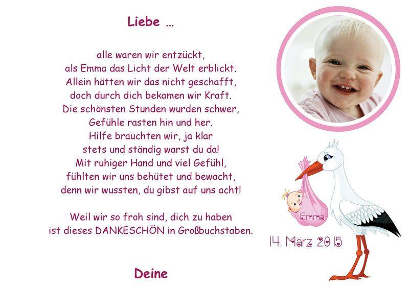 Danke An Die Hebamme Geburt Baby A4 Dankeskarte Geburt Text Danksagung Karten Hebamme
