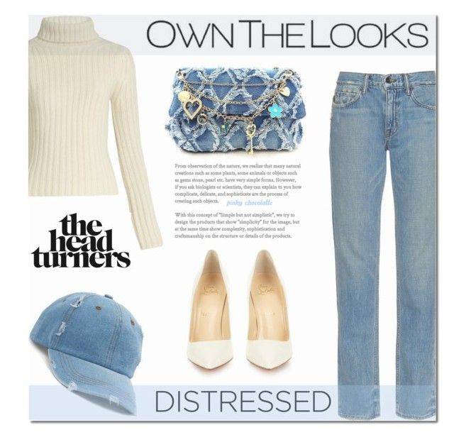 """""""True Blue - Distressed Denim: 23/01/17"""" by pinky-chocolatte ❤ liked on Polyvore featuring Christian Louboutin, Helmut Lang, Ryan Roche and Mudd"""