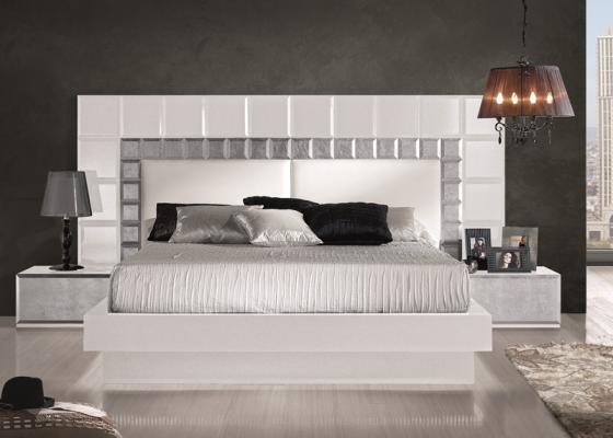Dormitorio lacado en blanco con detalles en pan de plata y frontales ...