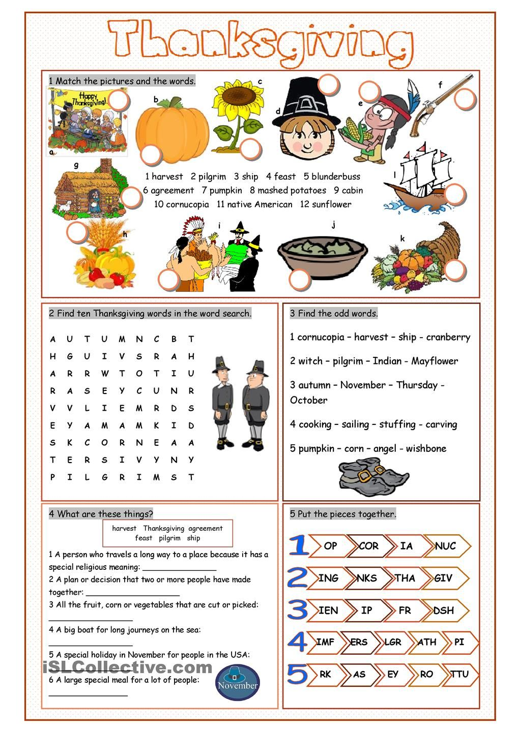 Workbooks thanksgiving worksheets for middle school : Thanksgiving Vocabulary Exercises | English worksheets | Pinterest ...