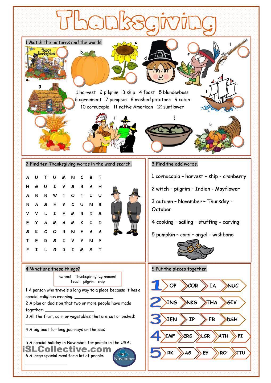 Thanksgiving Vocabulary Exercises | English worksheets | Pinterest ...