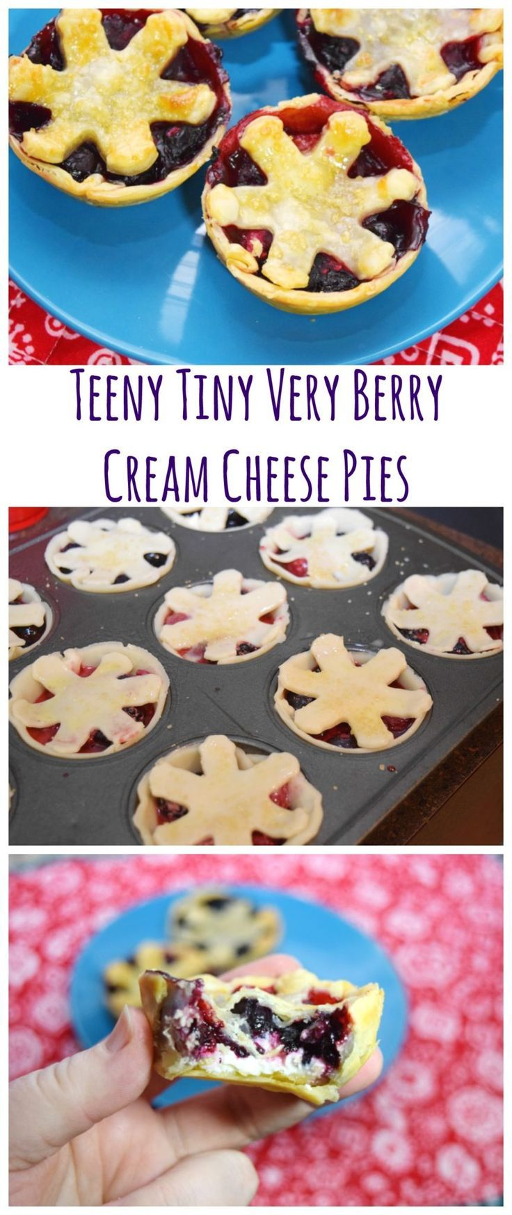Need the perfect sweet treat? Make these teeny tiny very berry cream cheese pies! Full of raspberry, blueberry, and strawberry! So perfect for valentine's day or any day! #pie #recipe #dessert