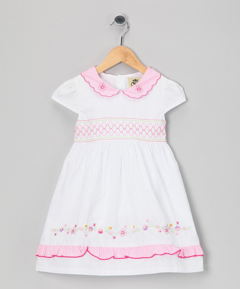 White u pink scalloped collar dress size nwt toddler girl lil