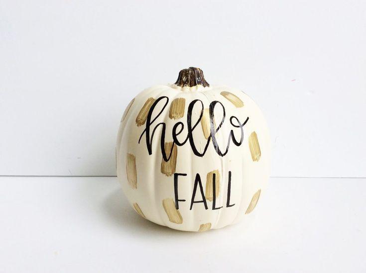 DIY Hand Lettered Painted Pumpkin #pumpkinpaintingideasfall