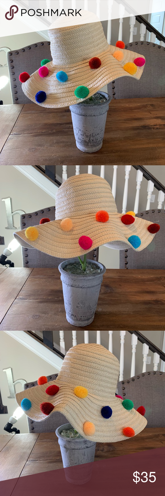 New Betsey Johnson Pom Pom Floppy Beach Sun Hat Betsey Johnson Brand New  with tags attached Floppy Style Beach Hat Adorned with multi colored  Pompoms for a ... 065061fa22c0