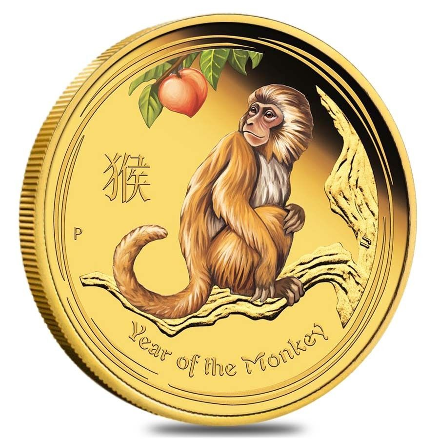 2016 1 Oz Proof Colorized Australian Gold Monkey Coin Year Of The Monkey Gold Coins Lunar Year