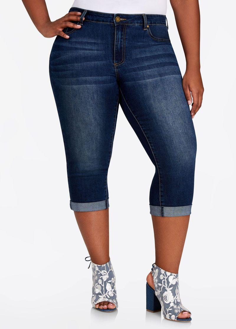 Cuffed capri skinny jean skinny jeans skinny plus size