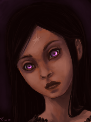 Elva is The creepiest kid you will ever meet/read about, in this drawing she would be about six months old, she was cursed to feel the pain of all those around her for miles, she matured rather quickly....