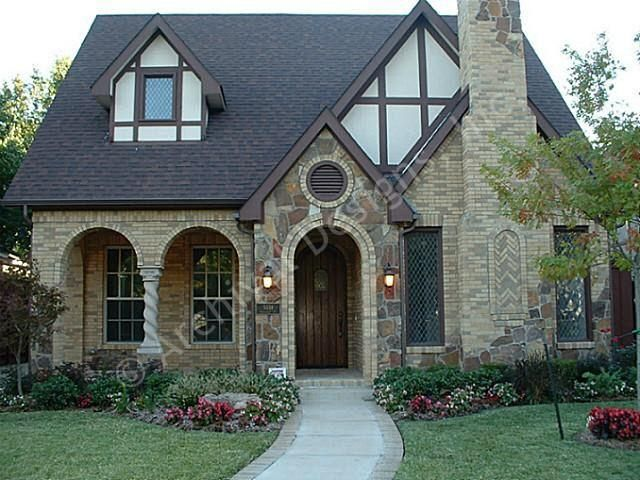 Victoria   Tudor House Plans   Narrow Floor Plans   Plan front     The Victoria Tudor house plan is the epitome of elegance accented by a  stone   brick facade  This narrow floor plan is perfect for a small lot in  the city