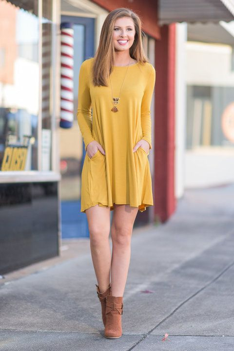 """""""Long Sleeve Swing Pocket Dress - Mustard"""" You're going to look like a dime in this soft, mustard yellow dress! This long-sleeve dress is right on trend for fall and oh-so easy to wear. #newarrivals #shopthemint"""